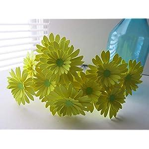 One Dozen Neon Yellow Gerbera Daisy Bouquet, 3 Inch Paper Flowers on Stems, Lemon Gerber Daisies 13