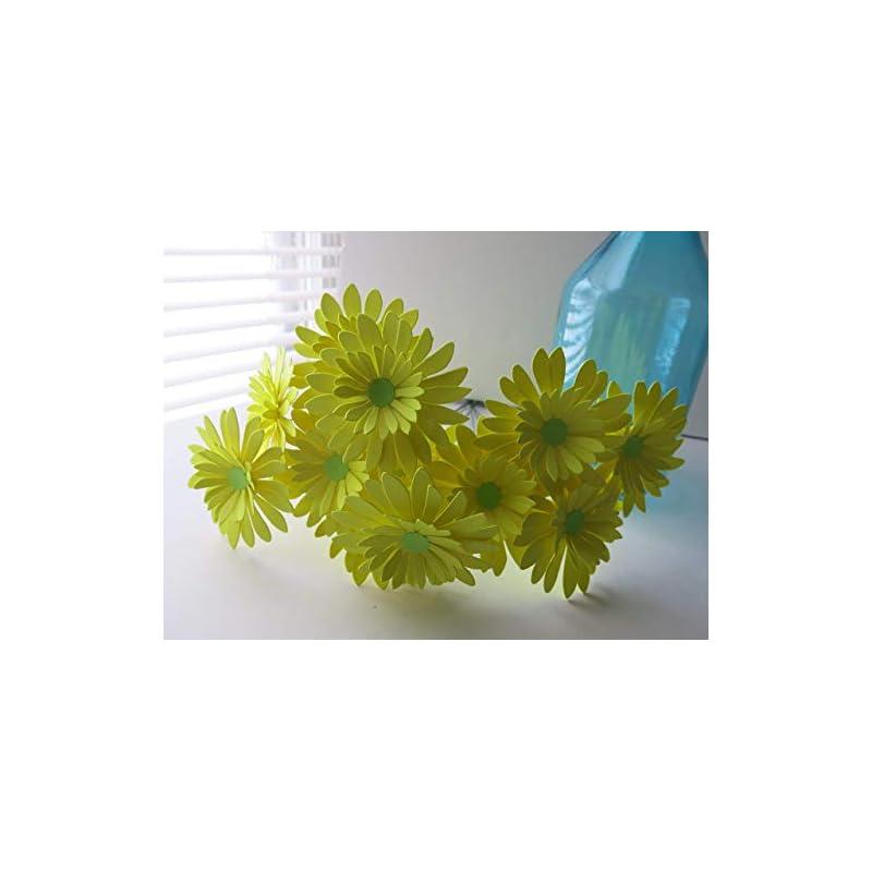silk flower arrangements one dozen neon yellow gerbera daisy bouquet 3 inch lemon paper flowers on stems 1 dozen centerpiece