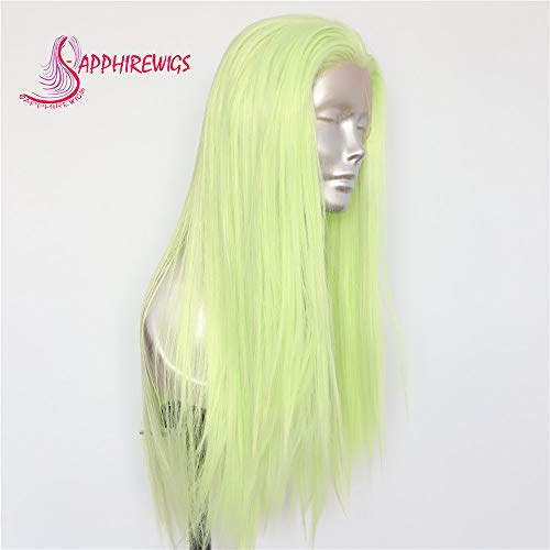 Sapphirewigs Light Neon Green Fashion Cosplay Blogger Internet Celebrity Daily Makeup Synthetic Lace Front Wigs