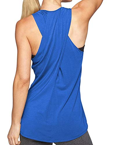 Metme Workout Top for Women Yoga Tank Tops Exercise Gym Summer Shirts Activewear Racerback Running Athletic Top Blue