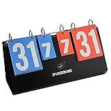 4 Digit Sports Scoreboard, Portable 4 Digit Sports Flip Score Board Tabletop Score Flipper for Tennis Football Volleyball Basketball
