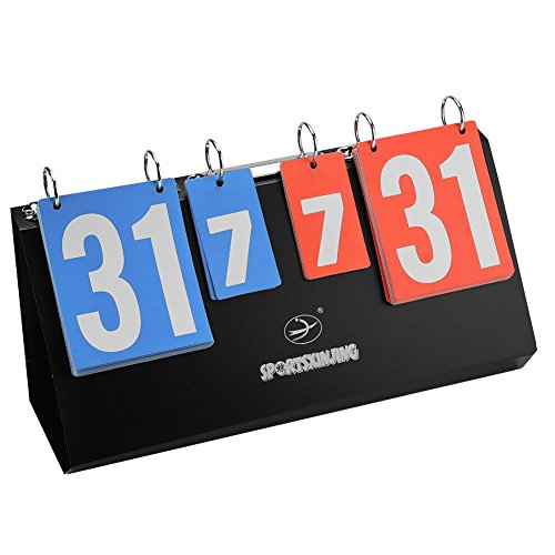 Asixx Scoreboard Portable, 4-Digit Sports Competition Scoreboard Portable Table Top Scoreboard, Flip Scoreboard Suitable Various Kinds Sports Activities
