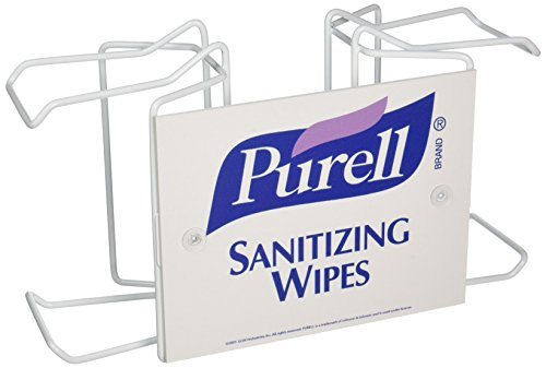 01 Barbecue - PURELL Hand Sanitizing Wipes Double Canister Pole-Mount Bracket, White, Bracket for 2 - 270 Count PURELL Hand Sanitizing Wipes Canisters- 9002-01