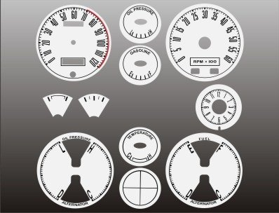 1967-1968 Ford Mustang White Face (Large Face Tachometer Gauge)