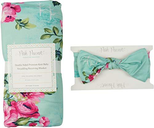 Posh Peanut Baby Swaddle Blanket - Large Premium Knit Baby Swaddling Receiving Blanket and Headband Set, Baby Shower Newborn Gift (Aqua Floral) ()