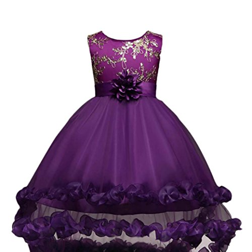 Kstare Kids Baby Girls Lace Sleeveless Party Wedding Bridesmaid Pageant Princess Dress (5T, Purple)