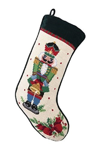 Green Nutcracker Melody with Bell Christmas Stocking, Wool & Velvet Needlepoint, 11 Inch X 18 Inch by PHI
