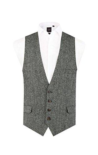 Harris Tweed Black & Grey Herringbone Vest Regular Fit 100% Wool Low Cut Waistcoat-XL (46-48in) ()