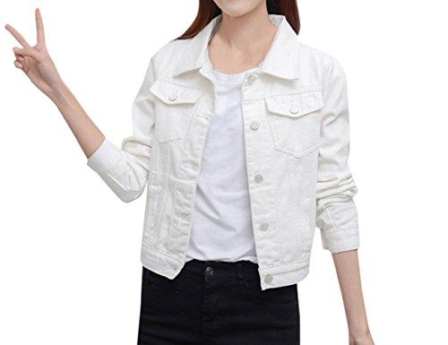 Coat Corto Bianca Di Giacca Manica Donna Casual Jacket Cime Cappotti Lunga Jeans Outerwear Denim Moda Giacche Tops I4wqxSwa8