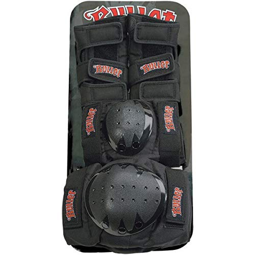 Bullet Skateboards Black Knee, Elbow, & Wrist Pad Set - Junior