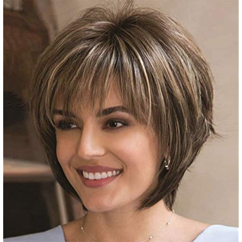 Details About Brown Wigs For White Women Short Curly Hair Synthetic Full Female With Cap Z117