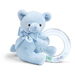 "Bearington Baby Polky Blue Plush Stuffed Animal Teddy Bear Shaker Toy Ring Rattle, 5"""