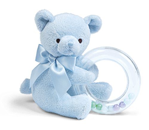 Bearington Baby Polky Blue Plush Stuffed Animal Teddy Bear Shaker Toy Ring Rattle, 5