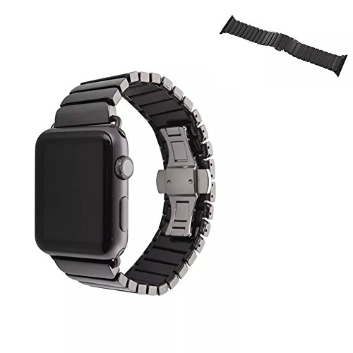 Apple Watch Band,iSank Luxury Ceramic Solid Links Bracelet Watch Band Strap Replacement Wrist Band For Apple Watch & Sport & Edition iWatch 42 With Adapter Butterfly Closure -Black by iSank