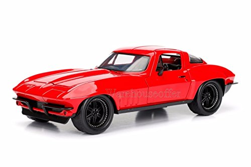NEW 1:24 JADA TOYS DISPLAY FAST & FURIOUS (2017) - RED LETTY'S CHEVROLET CORVETTE Diecast Model Car By Jada Toys (Without Retail Box) (Red Corvette Model Car)
