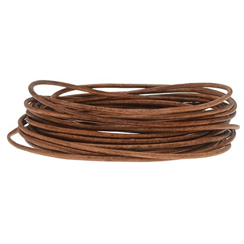 (Genuine Leather Cord, Round 1.5mm, by The Yard, Natural Light Brown)