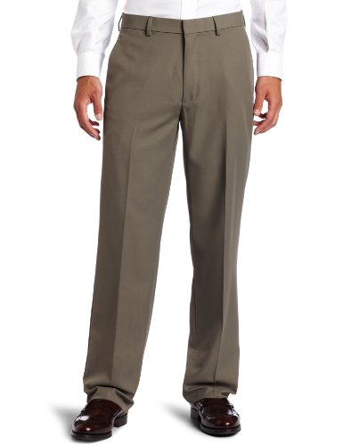 Haggar Men's Cool 18 Straight Fit Gabardine Plain Front Casual Pant,Taupe,30 / - Pants Gabardine Leg Straight