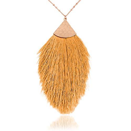 RIAH FASHION Bohemian Fringe Tassel Pendant Statement Necklace - Silky Strand Semi Circle Fan Charm, Teardrop Thread, Freshwater Pearl Charm Long Chain (Petal Tassel - Mustard)