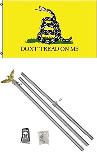 ALBATROS 3 ft x 5 ft Gadsden White Snake Flag with 6in Ft Steel Flagpole Flag Pole kit Eagle for Home and Parades, Official Party, All Weather Indoors Outdoors