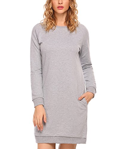 Dress Pockets Women's Kangaroo ACEVOG gray Long 3 Sleeve with Hem Split Hoodie Sweatshirt Round ST1CxAqw