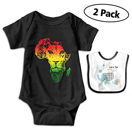 CZnuen Africa Map and Rasta Lion Boys' Short Sleeve Girls' Bodysuit Outfits Cotton Onesies Clothing 6M Black