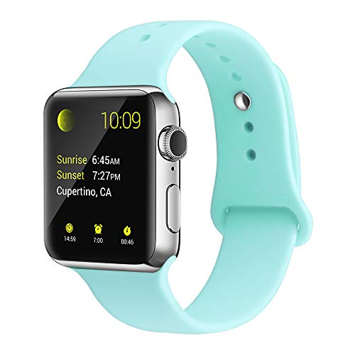 Teal Band - YunTree Compatible with Apple Watch Band 38mm/40mm M/L Size iWatch Sports Band Replacement for Women Man Apple Watch Series 4/3/2/1 Size Comfortable Silicone Strap-Turquoise
