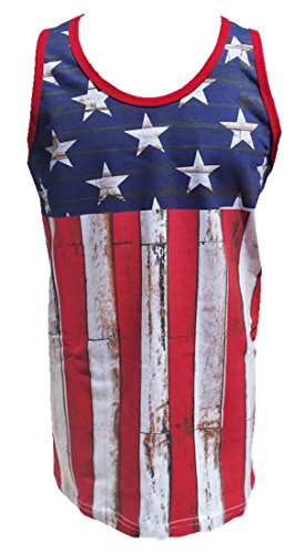 Calhoun Sportswear Men s Distressed USA Flag Tank Tee Medium 7bc0ca407