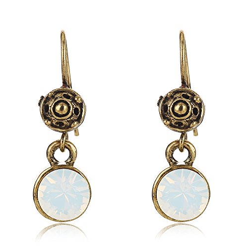 Tom+Alice Hand-made Antique Style 8mm White Opal Dangle Earrings for Women Eco-Copper Ear Hook (Antique Style Dangle Earrings)