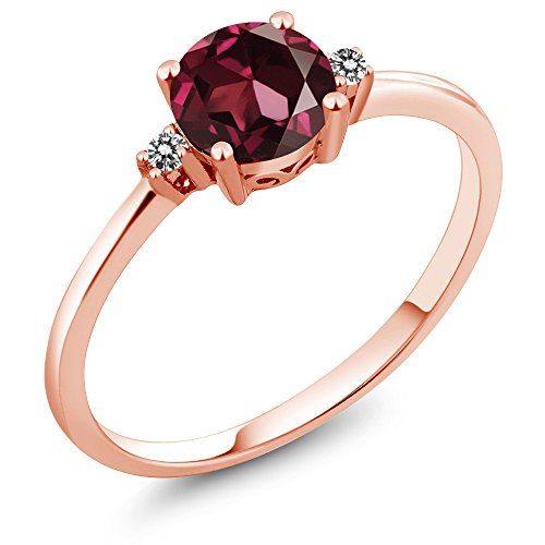 10K Rose Gold Engagement Solitaire Ring set with 1.03 Ct Round Red Rhodolite Garnet and White (10k Rhodolite Ring)