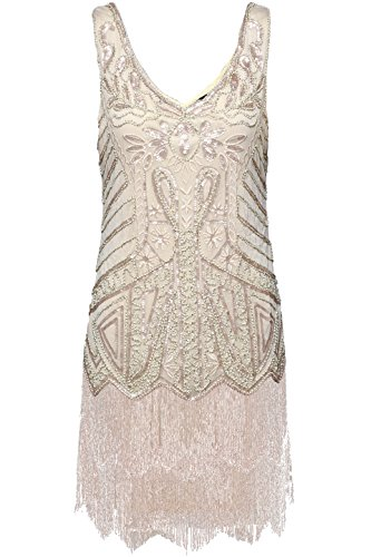 [BABEYOND Women's Flapper Dresses 1920s V Neck Beaded Fringed Great Gatsby Dress (Small, Beige)] (Gold Flapper Dress)