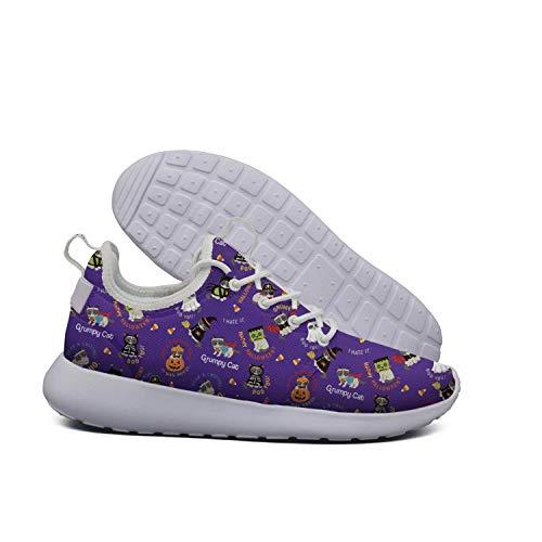 Saerg Bearry Women's Grumpy cat Halloween Pumpkin Lightweight Mesh Running Shoes Athletic Sneakers for $<!--$56.19-->