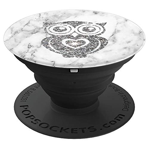 Silver Sparkle, Owl, Heart, White Sparkles, Marble, Cute - PopSockets Grip and Stand for Phones and Tablets