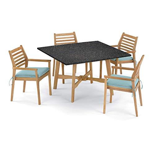 Oxford Garden Wexford 5 Piece Natural Shorea Patio Dining Set W/ 48 Inch Square Lite-Core Charcoal Table & Sunbrella Canvas Mineral Blue Cushions