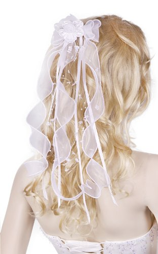 Easy Flare Jeans - Flora Girl's Communion Headpiece Ribbon Bow Veil White