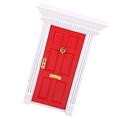 1:12 Dollhouse Miniature Luxury Wooden Red Exterior Door 6 Panel w Key: Toys & Games