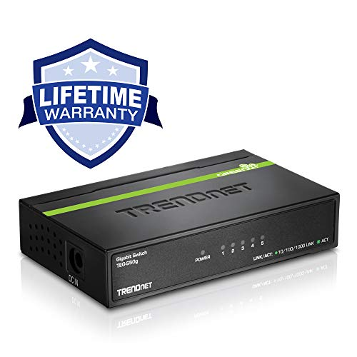 TRENDnet 5-Port Unmanaged Gigabit GREENnet Desktop Metal Switch, Ethernet Splitter, Ethernet/Network Switch, 5 x Gigabit Ports, Fanless, 10 Gbps Switching Fabric, Lifetime Protection, TEG-S50g