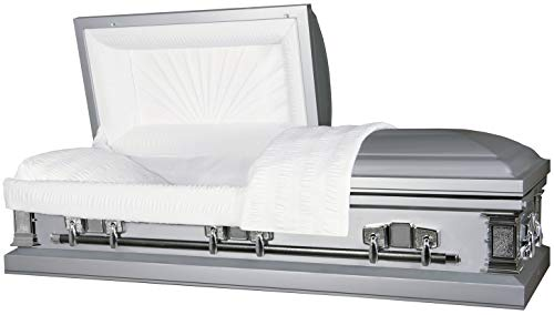 Titan Casket - Satin Silver Steel Casket with White Crepe Interior