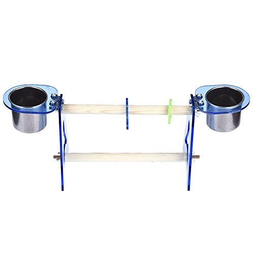 - Parrot Standing Perches Small Birds Training Climbing Toys With Two Stainless Steel Bowls for Watering Food Feeding M