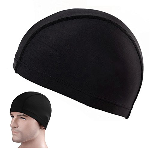 osierr6 Lycra Cloth Fabric Swimming Cap Elastic Solid Color Beath Caps Bathing Hats for Adult Men Women Black