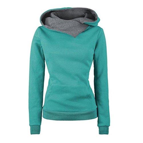 Price comparison product image TAORE Women Long Sleeve Hoodie Sweatshirt Pullover Cotton Hooded Sweater (L,  Green)
