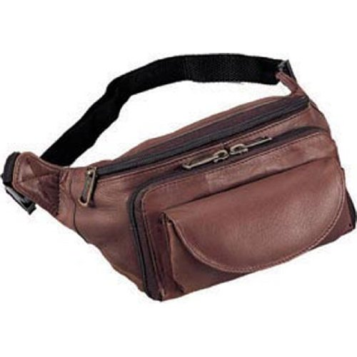 (Cowhide Leather Large Fanny Pack Color: Brown)