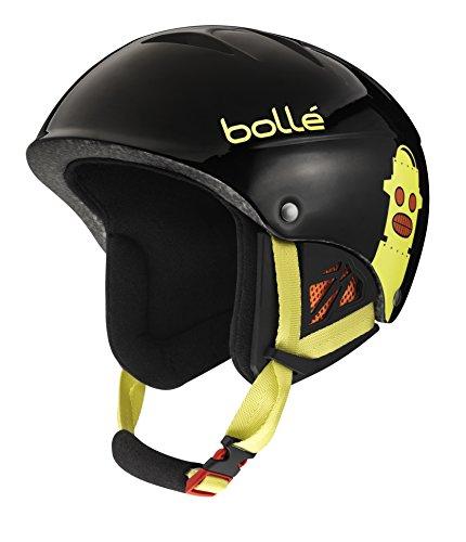 Black Shiny Helmet - Bolle B-Kid Ski Helmet, Shiny Black Robots, 53-57cm