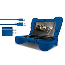 dreamGEAR - Power Play Kit - Ergonomic/Protective Silicon Cover + AC Adapter + Charge Cable for 3DS XL – Blue