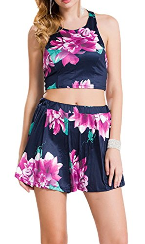 Toyobuy Women Floral Halter Two Piece Set Beach Swimsuit Beachwear XL by Toyobuy