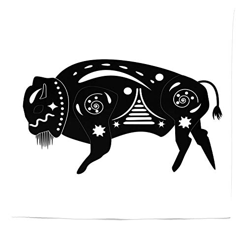 - SODIKA Bison Tapestry Twin Size, Ethnic Sacred Buffalo Bull in Ancient Native Mayan Aztec Geometric Ornaments, Home Decorations for Living Room Dorm Decor, 68 W X 88 L inches, Black and White