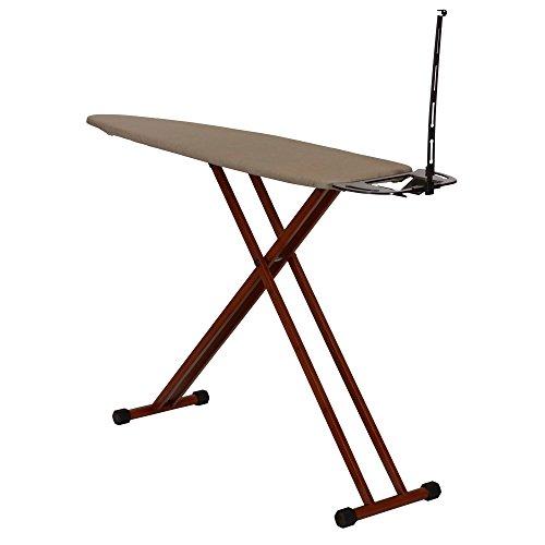 (MattsGlobal Bamboo Leg Ironing Board with Iron Rest Cotton Wood Free Standing Iron Holder Dark Frame)