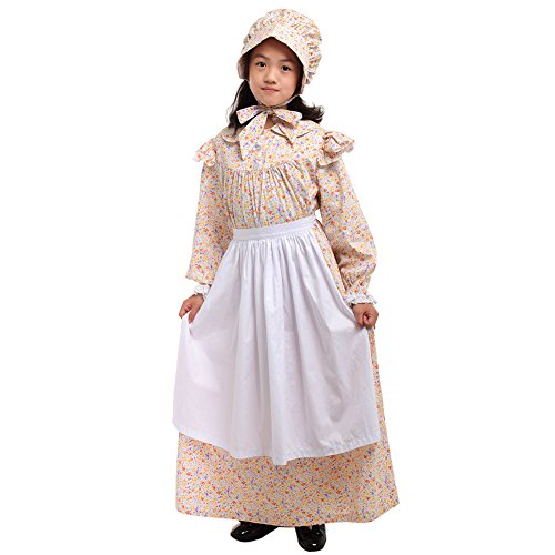 GRACEART Girls' American Pioneer Colonial Costume Prairie Dress 100% Cotton (Colonial Days Costumes Girls)