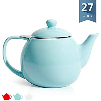 Sweese 2308 Teapot, Porcelain Tea Pot with Stainless Steel Infuser - 28 ounce, Turquoise