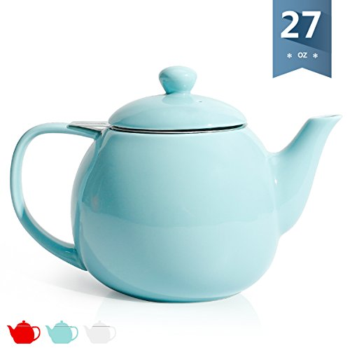 Sweese 2308 Teapot, Porcelain Tea Pot with Stainless Steel Infuser - 27ounce, Turquoise