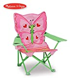 Melissa & Doug Bella Butterfly Child's Outdoor Chair (Easy to Open, Handy Cup Holder, Cleanable...